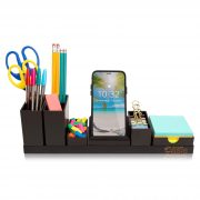 Desk Organizer with Adjustable Pen Holder, Pencil Cup