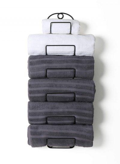 Metal Wine Rack Towel Shelf for Bathroom Black