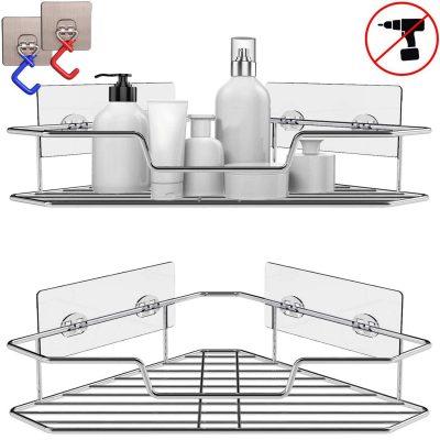 Soft Digits 2-Pack Corner Shower Caddy, Extra Mop Clip 2Pcs