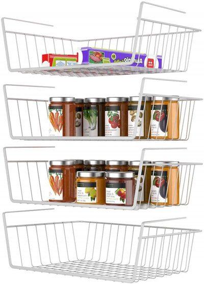Wire Baskets Under Shelves Storage Rack
