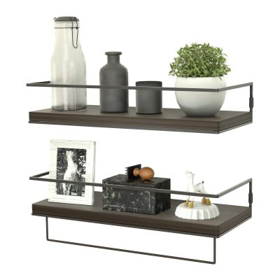 ZGO Floating Shelves for Wall Set of 2,Rustic Wood