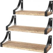 Amada Floating Shelves Wall Mounted, Rustic Paulownia Wood Wall