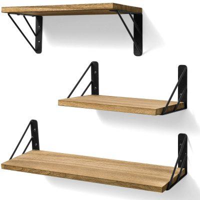BAYKA Floating Shelves Wall Mounted, Rustic Wood Wall Shelves Decor