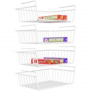 Under Shelf Basket, iSPECLE 4 Pack White Wire Rack