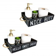 Nice Butt Bathroom Decor Box, 2 Sides with Funny Sayings