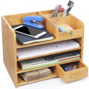 Bamboo Office Desk File Organizer with Drawer