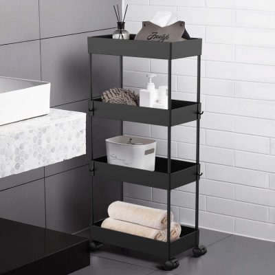 AOJIA 4 Tier Slide Out Storage Cart, Bathroom Storage Organizer Rolling Utility Cart