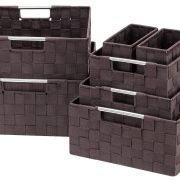 Woven Basket Bin Container Tote Cube Organizer Set