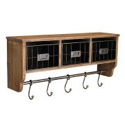 Entryway Organizer Wall Shelf with 5 Coat Hooks and Cubbies