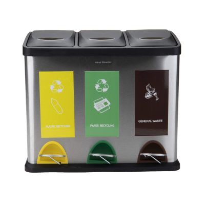 Metal Recycling Bin Mind Reader 3-Section Stainless Steel