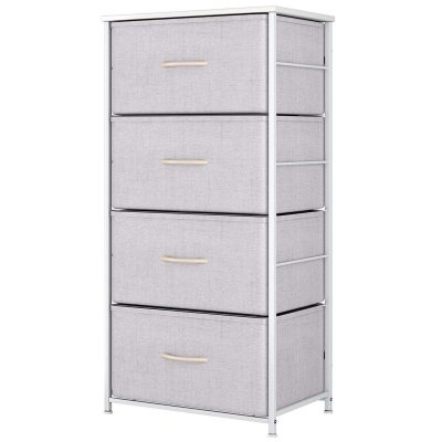 Dresser with 4 Drawers, Fabric Storage Tower