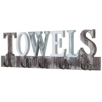 Dual-Hook Towel Hanging Rack with Cutout Letters