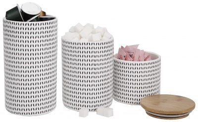 Large Ceramic Lids, 3 pc Round Canister Sets