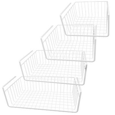 White Wire Under Shelf Storage Basket 4-Piece Set