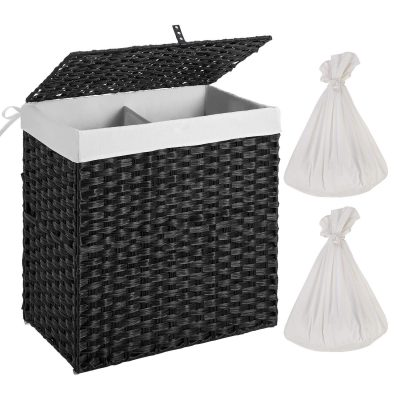 Synthetic Rattan Laundry Basket with Lid and Handles