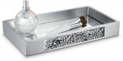 DWELLZA Silver Mosaic Vanity Mirror Tray for Dresser