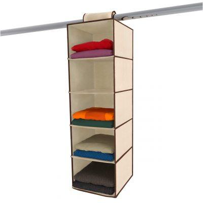 Ziz Home Hanging Closet Organizer   5 Shelf Beige