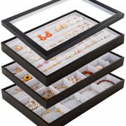 Mebbay Stackable Velvet Jewelry Trays Organizer Set