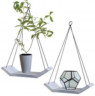 Modern Living Wood Floating Shelves -Set of 2 Solid Wooden Hanging Shelves
