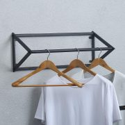 MBQQ Modern Black Metal Clothing Racks Wall Mounted