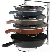 Easy Houseware Kitchen Cupboard 5 Adjustable Compartments Pan and Pot Lid Organizer Rack Holder, Chrome