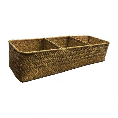 LA Rectangular Woven Seagrass Storage Basket and Home Organizer Bins