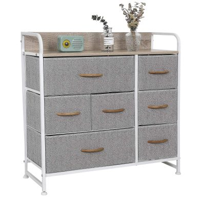 Wide Chest of Drawers with Wooden Top & Handles