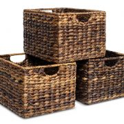 BIRDROCK HOME Woven Storage Shelf Organizer Baskets with Handles